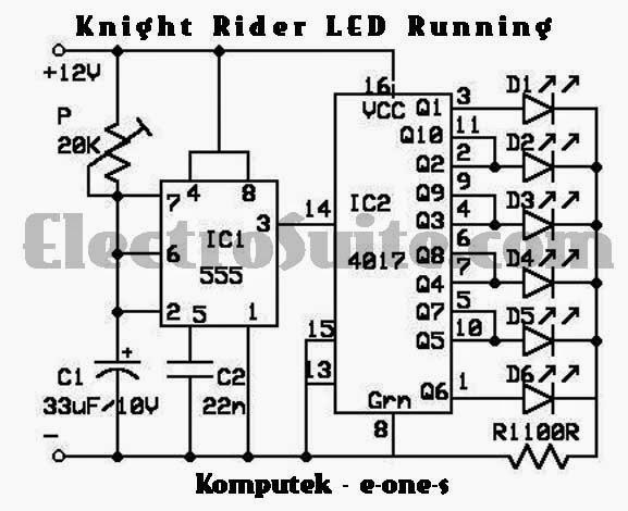 venom teknologi  rangkaian running led dengan ic 4017 dan