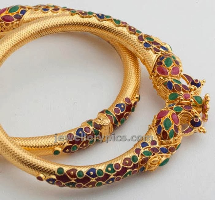 gold kadas meenakari peacock design