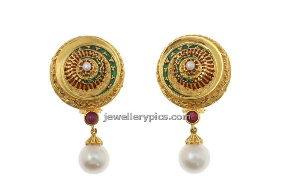 azva collection gol dearrings at ckchetty and sons