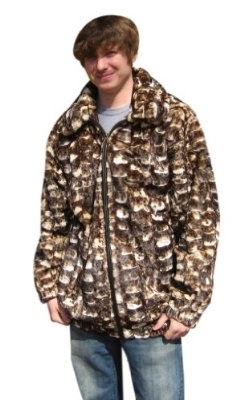 Bergama Mens Black Bleached Sheared Mink Sections Parka - White