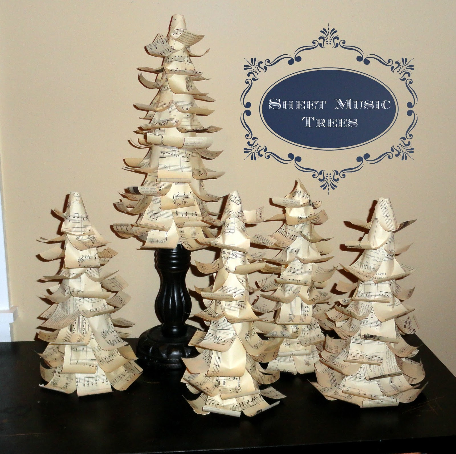 Sheet music Christmas tree tutorial from cereal boxes  Rachel