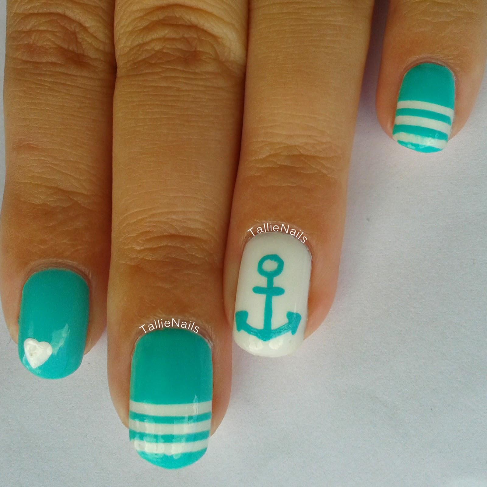 Tallienails: Turquoise Nautical Nails