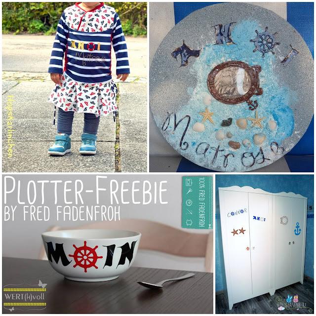 Plotter-Freebie; maritim; plotten; kostenlos; ahoi; moin; matrose; sailor; Rettungsring; Seestern; Steuerrad; Bullauge; fredfadenfroh