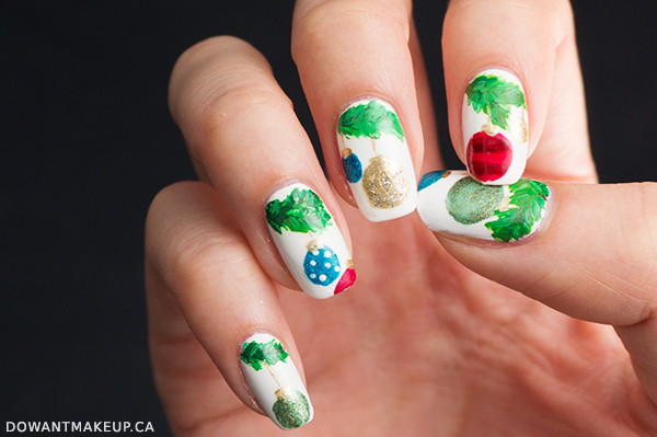Christmas holiday ornament nail art