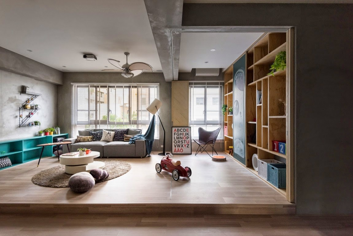 The home was designed by hao interior design in 2015 and covers an area of 1485 square feet outer space for kids