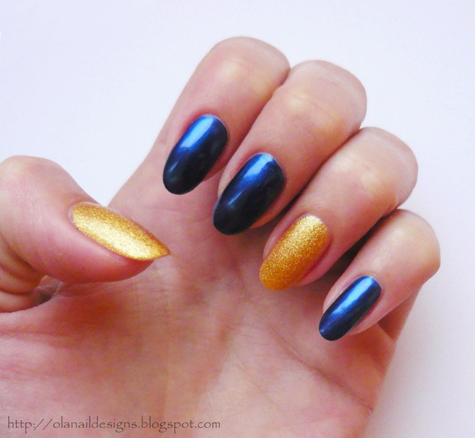 granatowo złote paznokcie