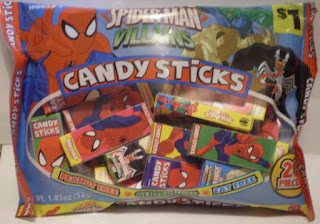Front of Ultimate Spider-Man Villains Candy Sticks unopened bag