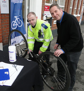 Simon Densley getting his bike registered