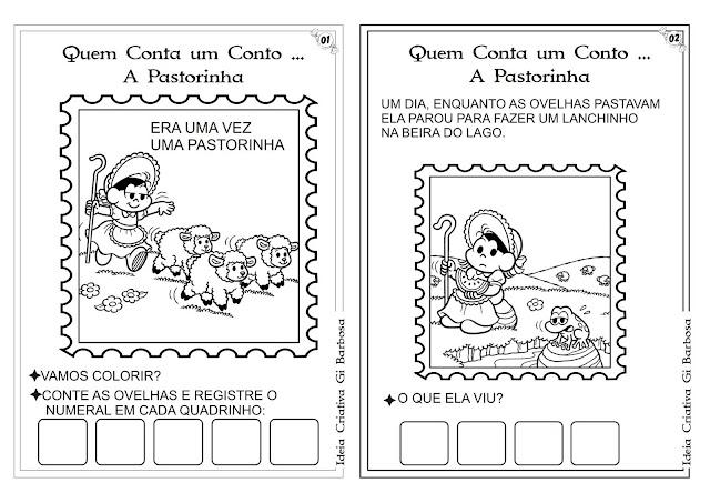 Caderndo com Atividades Conto A Pastorinha Turma da Mônica