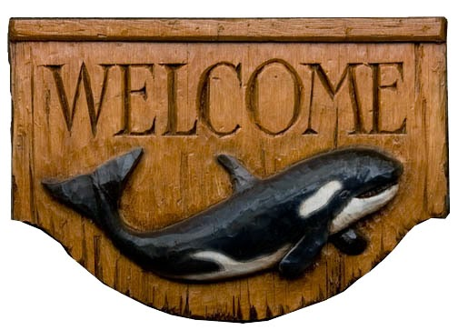 Orca Whale Welcome Sign