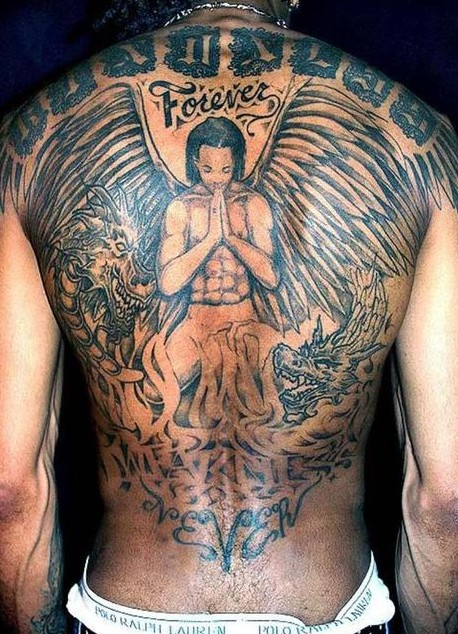 Angel Tattoo On Back