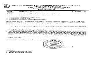 Surat Edaran dari Kemndikbud tentang Linieritas kualifikasi akademik dalam kepangkatan guru
