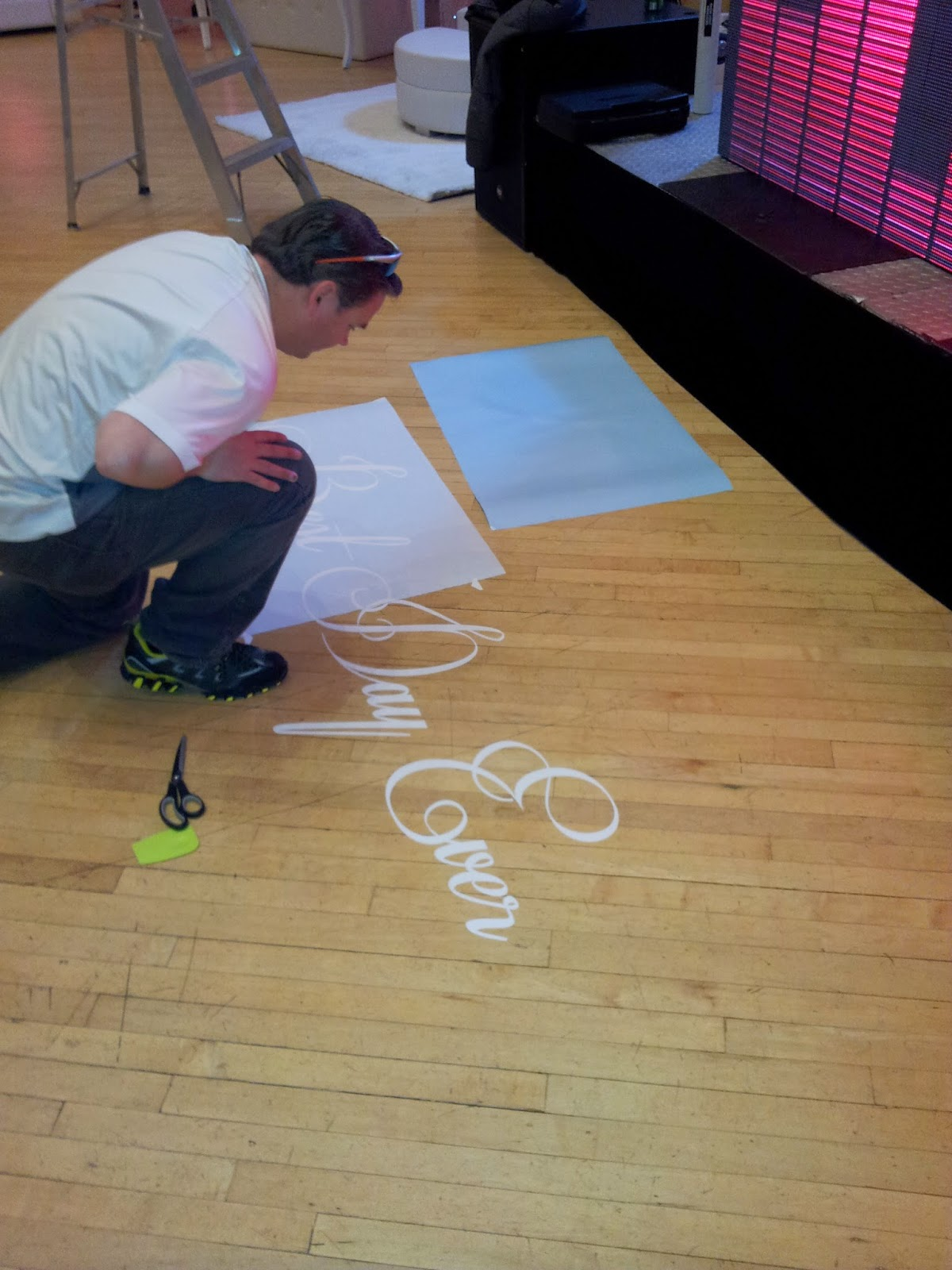 Applying the Wedding Dance Floor Vinyl Decal
