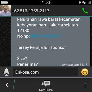 Konfirmasi alamat lengkap dan pesanan jersey Persija Net Tv oleh enkosa sport kualitas grade ori