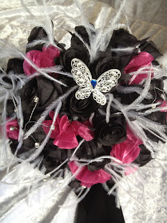 Fabric Carnation and Ostrich feather Brides Bouquet - with a little blue