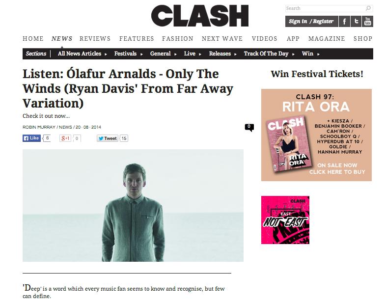 Clash premiere Ólafur Arnalds 'Only The Wins (Ryan Davis' From Far Away Variation)