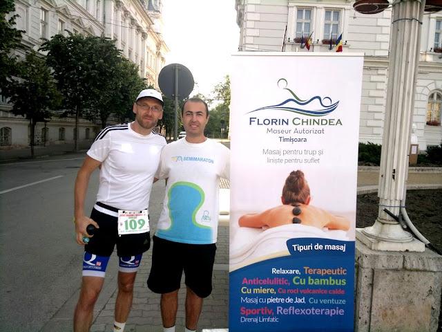 Maseur oficial la Maraton Arad 2015. O nouă participare, un nou rol, acelaşi eveniment frumos de alergare. Florin Chindea şi Daco Tod