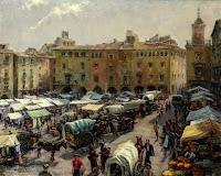 JACINTO CONILL Plaza Mayor de Vic en día de mercado c. 1960