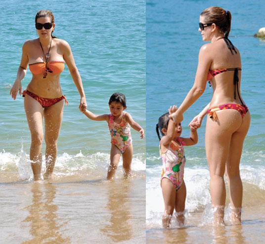 alicia machado fue a la playa con su hija y luci cuerpazo