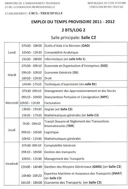 emploi du temps logistique CBCG Treichville 2BTS LOG2 2012