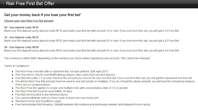 Betredkings £50 Free Bet - Terms and Conditions