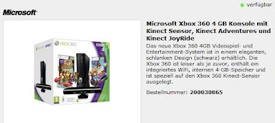 ProMarkt: Xbox 360 4 GB mit Kinect Sensor, Kinect Adventures und Kinect JoyRide für 222 Euro