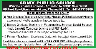 Applications are invited for PGT, TGT and PRT Teachers Posts in APS Chennai