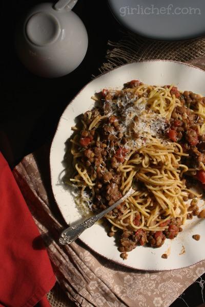 Spaghetti with Lentil Ragù | www.girlichef.com