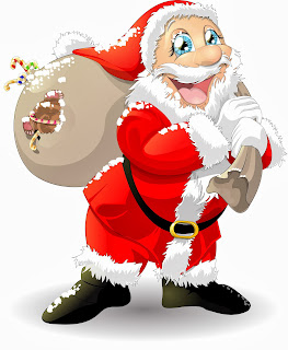 Funny Santa with gifts