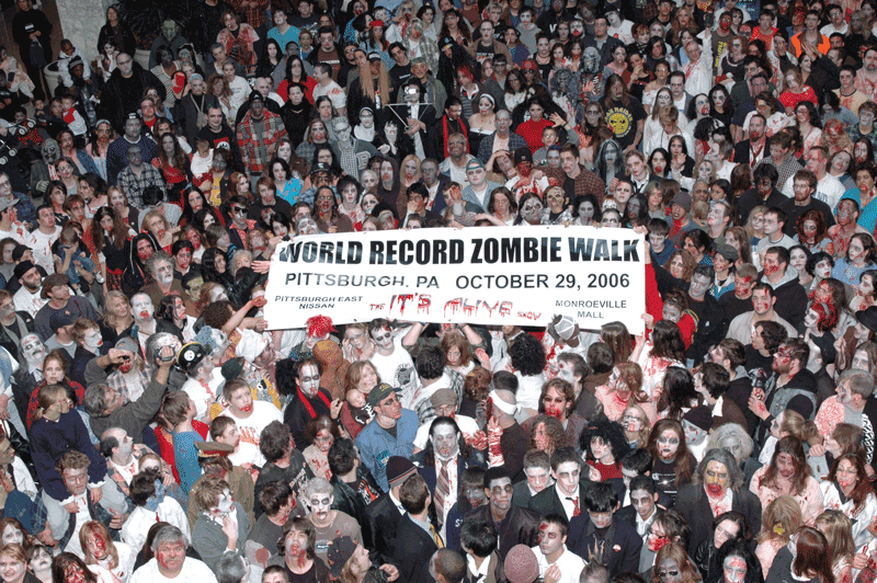 World record zombie walk in Pittsburgh