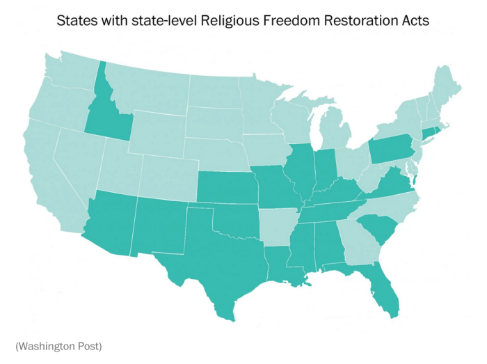 States with state-level Religious Freedom Restoration Acts
