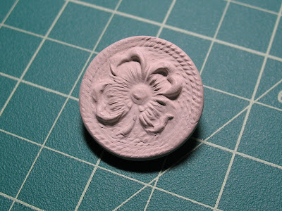 unfired PMC button pendant