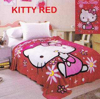 Selimut Sutra Panel Belladona Kitty Red