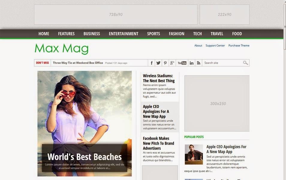 MaxMag Responsive Blogger Template cho trang tin tức