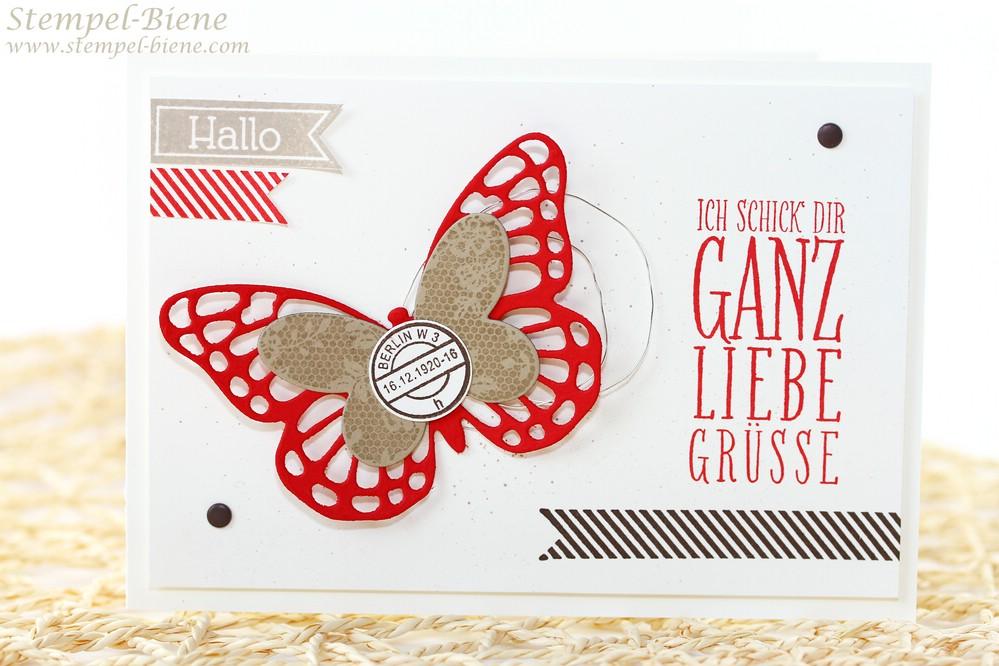 Stampin Up Wimpeleien; Grußkarte Stampin Up; Stampin Up Auslaufliste 2015; Schmetterlingsgrß Stampin up; Sammelbestellungen; Stempel-Biene