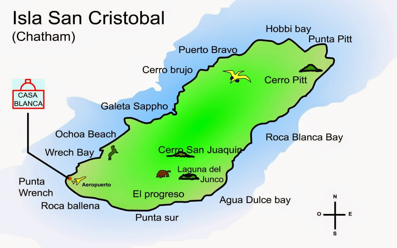 Map San Cristobal Galapagos Islands