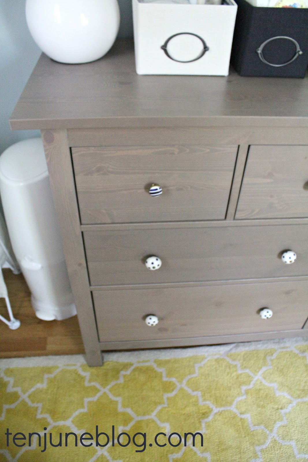 Ten June: Nursery Update: Ikea Dresser Turned Changing Table Station U0026 Land  Of Nod Gumball Lamps