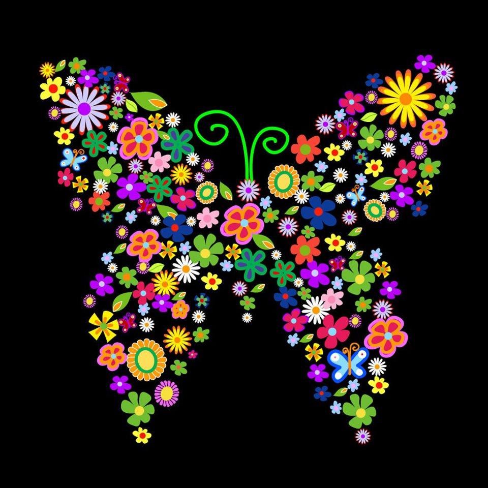 O del rio da bruxa voando como as borboletas for Mural de flores y mariposas