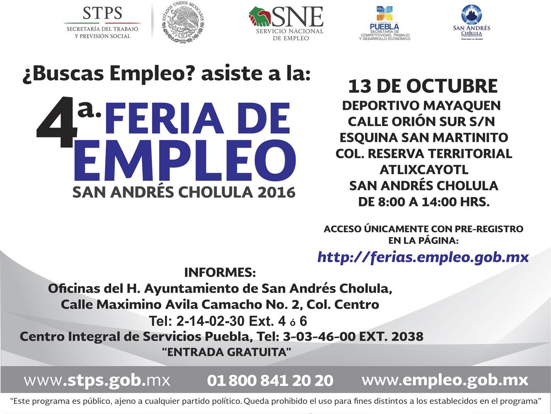 Anuncian 4a. Feria del Empleo en San Andrés Cholula