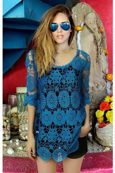 Stunning Blue Lace Shirt And Mini Skirt