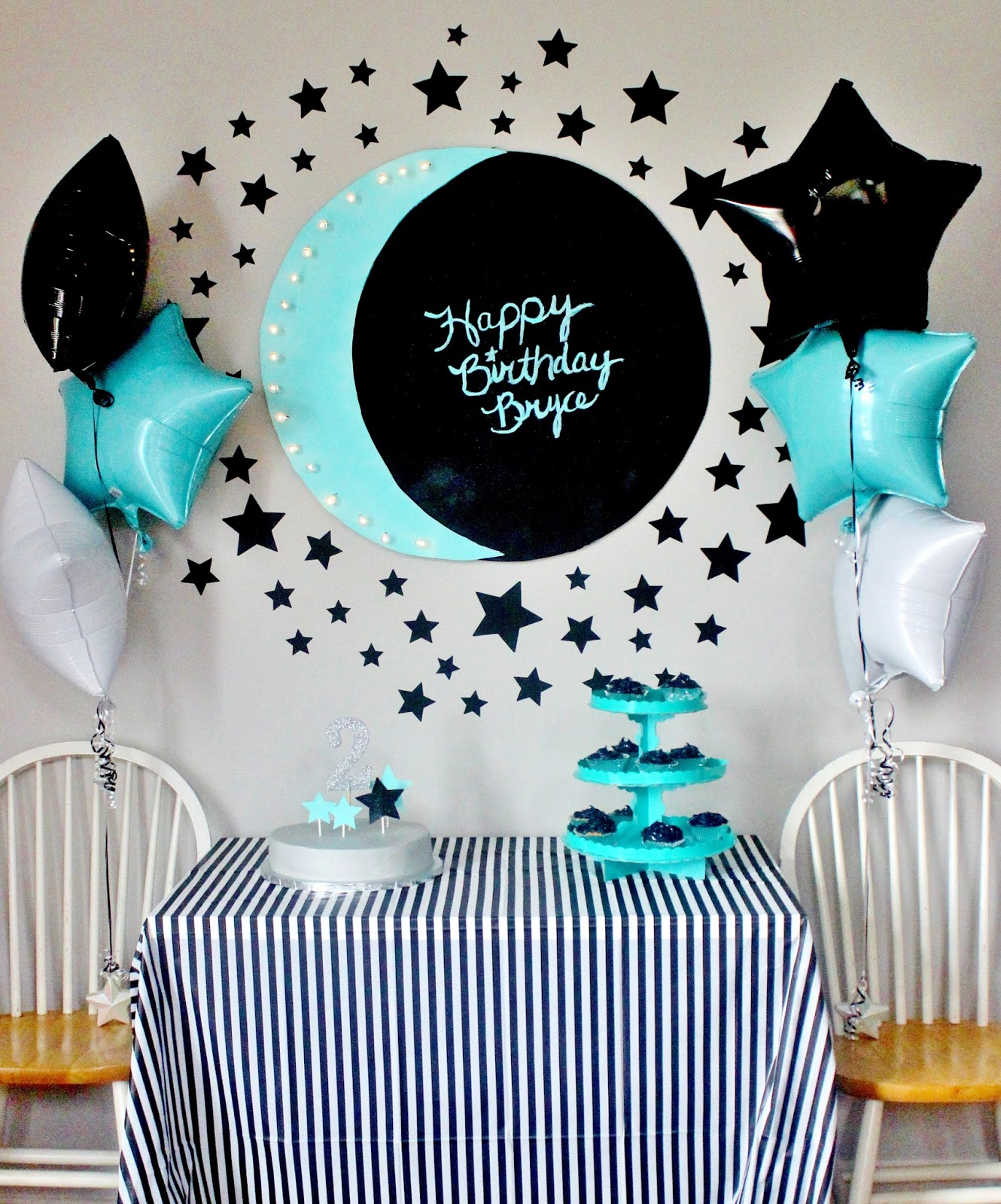 moon star themed birthday party little b turns 2 delightfully noted. Black Bedroom Furniture Sets. Home Design Ideas