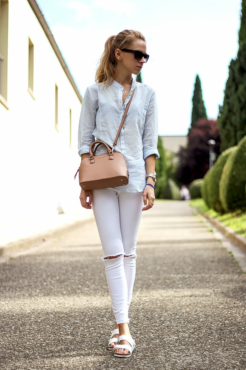 ripped white jeans, striped shirt, birkenstock, casual summer outfit