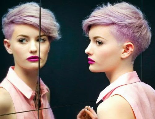 short hairstyles for thin hair with purple color
