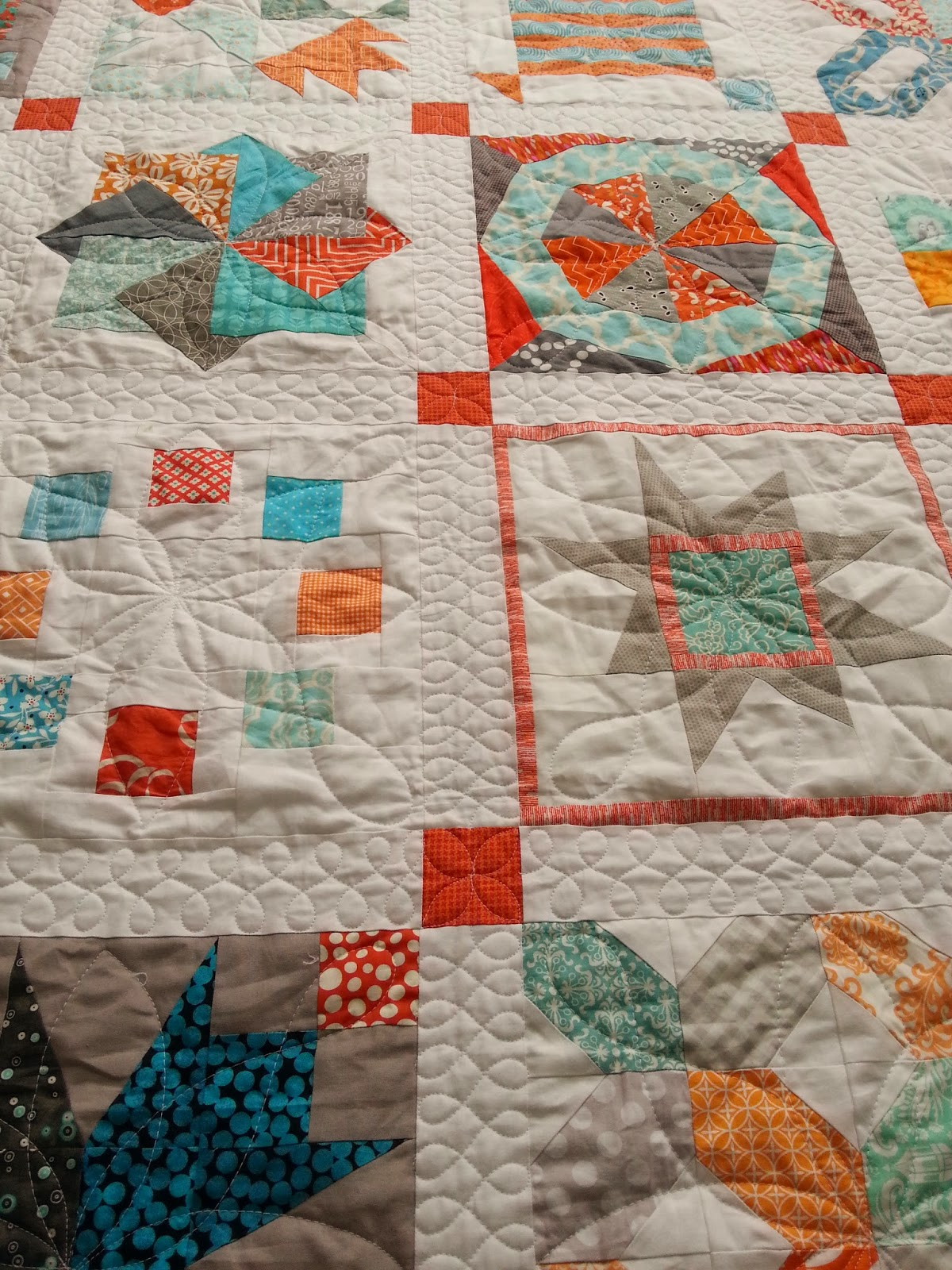 Aqua and Orange Sampler Quilting Texture