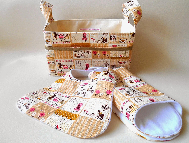 fox, deer and bunny baby gift set fabric basket, bib and burp cloth