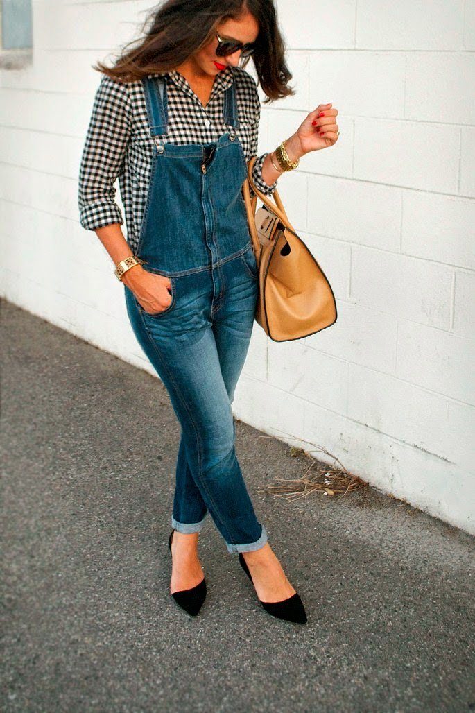 gingham shirt and overalls for fall