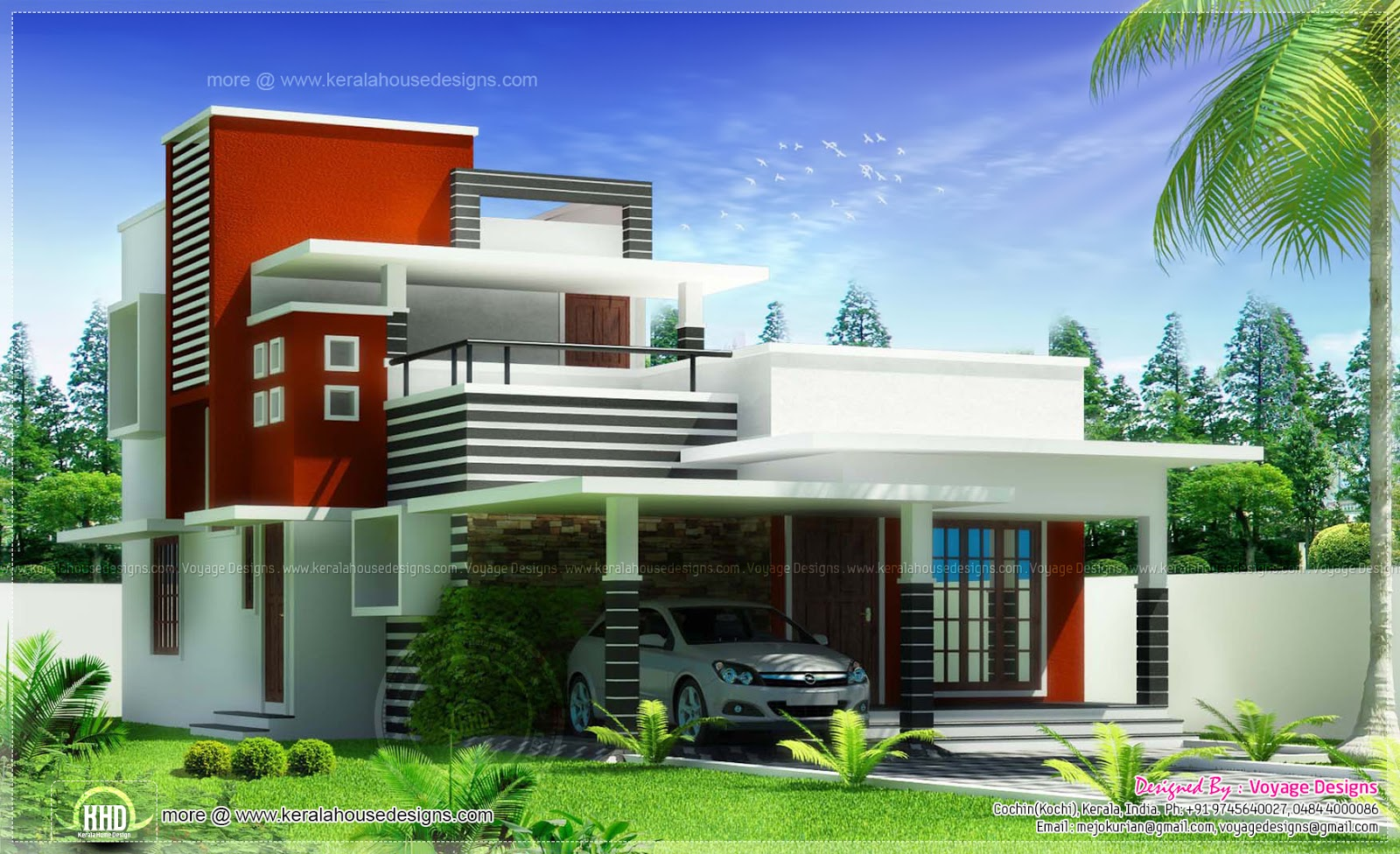3 bed room contemporary style house kerala home design for Kerala houses designs