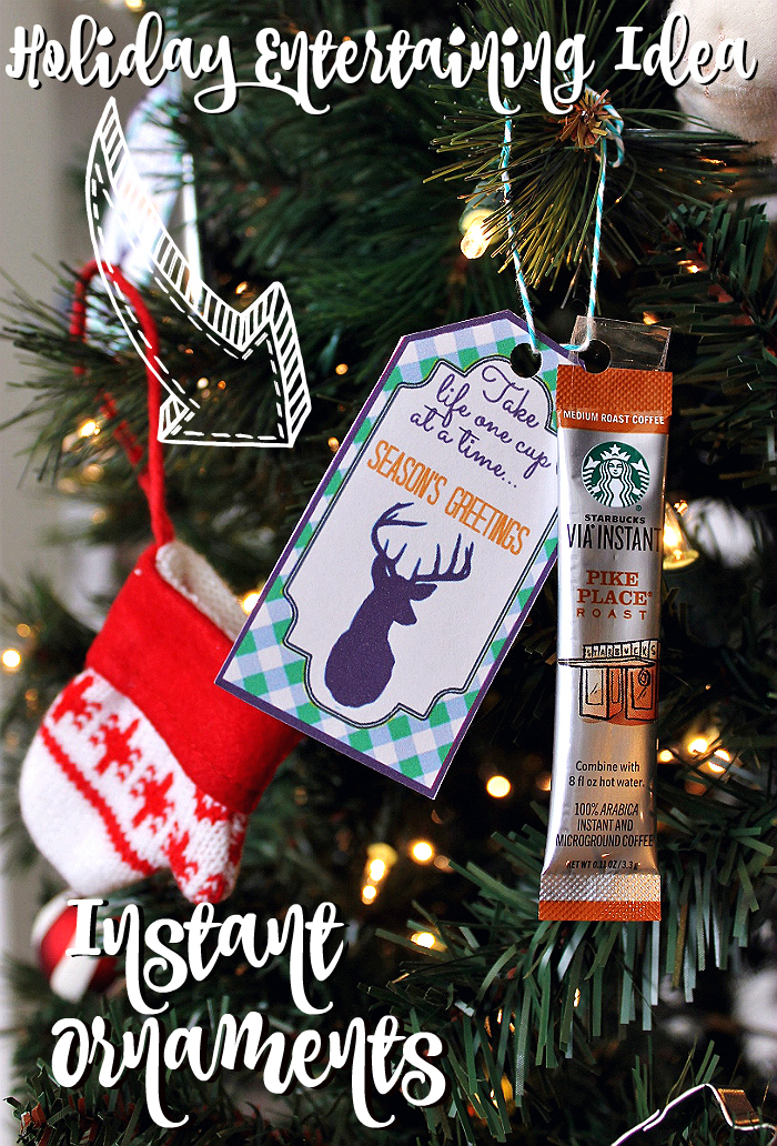 Grab the FREE Instant Ornament gift tag printables and hang these on your tree with starbucks VIA Instant packets for guests to grab and brew an after meal drink!