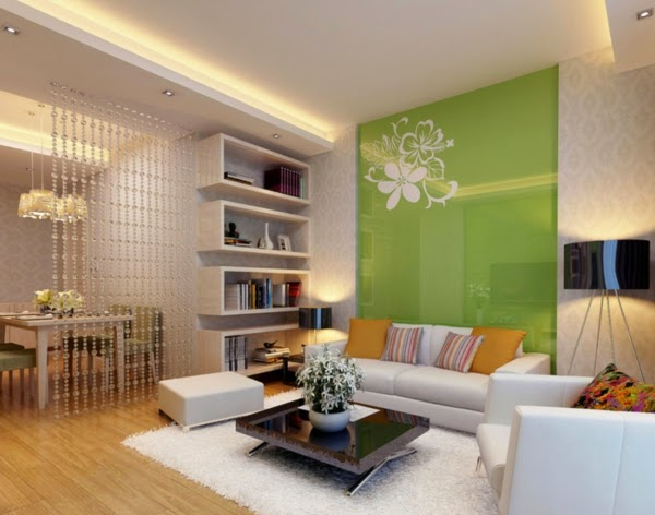 Bright Living Room Color Schemes White Design And Green Wall