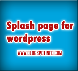 Splash Page for wordpress